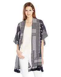 French Connection - Jacquard Patchwork Blanket Wrap - Lyst