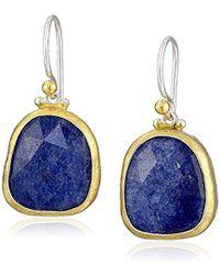 """Gurhan - """"elements"""" Sterling Silver Rose Cut Blue Quartz Hook Drop Earrings - Lyst"""