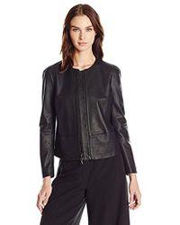 Anne Klein - Zip-front Leather Jacket - Lyst