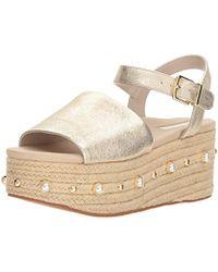 Kenneth Cole - Indra Studs Platform Espadrille Ankle Strap Heeled Sandal - Lyst