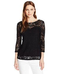Adrianna Papell - Knit Lace 3/4 Sleeve Scoop Back - Lyst