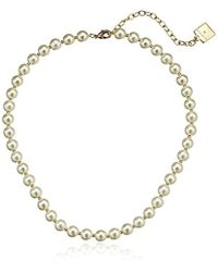 "Anne Klein - Perfectly Pearl Pearl Collar Necklace, 16"" + 3"" - Lyst"