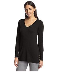 SOCIETY NEW YORK - V-neck Button Hem Tunic Sweater - Lyst