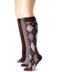 Anne Klein - Chic Argyle Knee-high Socks 3-pack - Lyst