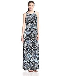 Marc New York - Marc New York Halter-neck Geometric Maxi Dress - Lyst