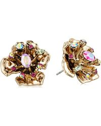 Betsey Johnson - S Blooming Betsey Gold Flower Stud Earings With Stones, Multi, One Size - Lyst