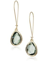 Kenneth Cole - Scattered Pave Gold Tone With Green Stone Drop Earrings - Lyst