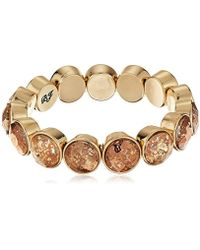 Betsey Johnson - Angels & Wings Patina Faceted Stone Stretch Bracelet - Lyst