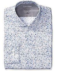 Calvin Klein - Dress Shirts Xtreme Slim Fit Thermal Stretch Splatter Print - Lyst