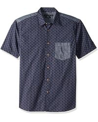 French Connection - Short Sleeve Printed Regular Fit Button Down Shirt - Lyst