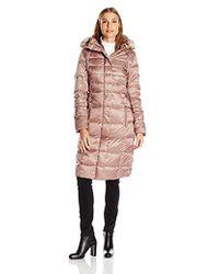 Eliza J - Down Coat With Removeable Faux Fur Trim Hood - Lyst