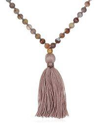 Satya Jewelry - S Botswana Agate Gold Lotus Mala Necklace 30-inch, Pink - Lyst