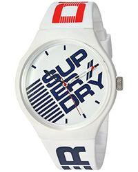 Superdry - 'urban Xl Fleck' Quartz Plastic And Silicone Casual Watch, Color:white (model: Syg227w) - Lyst
