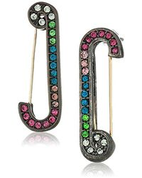 Betsey Johnson - S Multicolor Stone Safety Pin Earrings - Lyst