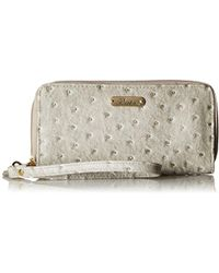 Buxton - Ostrich Brights Slim Double Zip With Wristlet, Paloma - Lyst