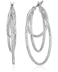 Anne Klein - Silver Tone Triple Ring Hoop Earrings - Lyst