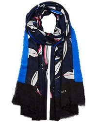 Tommy Hilfiger - Spw Leaves Print Scarf, Multicoloured Navy Mix, One Size(size:os) - Lyst