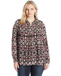 Jones New York - Plus Size Tapestry Print Half Placket Popover Blouse - Lyst