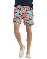 Scotch & Soda - Swim Short In Polyester Quality With All-over Print And Cont - Lyst