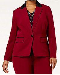 Nine West - Plus Size 1 Button Notch Collar Bi Stretch Jacket - Lyst