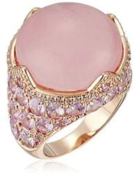 CZ by Kenneth Jay Lane - Round/oval Cubic Zirconia Cab Rose Quartz Ring - Lyst