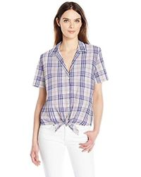 Equipment - Short Sleeve Keira Tie Front Shirt - Lyst