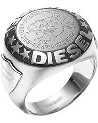 DIESEL - Uomo-anello in acciaio inox - DX0182040, Acciaio inossidabile, 24, colore: Argento/nero, cod. DX0182040-11 - Lyst
