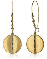 "Kenneth Cole - ""highlines"" Pave Disc Long Drop Earrings - Lyst"