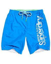 Superdry Boardshort Pantalones Cortos para Hombre - Azul