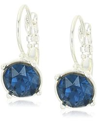 Nine West - Silver-tone And Blue Leverback Drop Earrings - Lyst