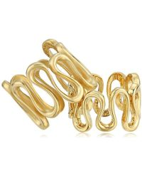 """Trina Turk - """"gold Rush Wavy Set Of Two Ring, Size - Lyst"""