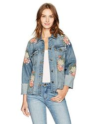 Joe's Jeans - Belize Embroidered Cuffed Denim Jacket In Sasha - Lyst