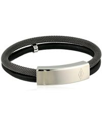 Fossil - Vintage Casual Gray Leather Double Bracelet - Lyst