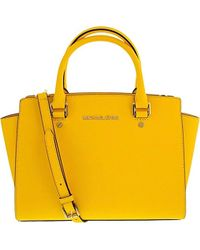 Lyst - Michael Michael Kors Selma Large Satchel Bag in Pink 15122e1b87