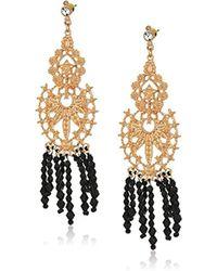 Steve Madden - Gold Floral Design Fringe Drop Earrings - Lyst