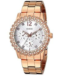 Guess - U0335l3 Rose Gold-tone Multi-function Watch With Genuine Crystal Accented Case - Lyst
