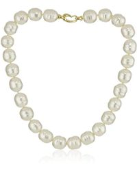 "Majorica - 14mm White Baroque With Bean Clasp 17"" Necklace - Lyst"