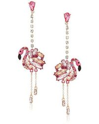 Betsey Johnson - S Pink And Rose Gold Linear Drop Flamingo Earrings - Lyst