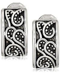 "Napier - "" Classics"" Silver-tone Paisley Textured Clip Earrings - Lyst"