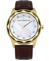 French Connection Quartz Watch With Mother Of Pearl Dial Analogue Display And Brown Leather Strap Fc1147tg