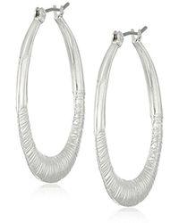 Nine West - S Silver-tone Large Teardrop Hoop Earrings, Size 0 - Lyst