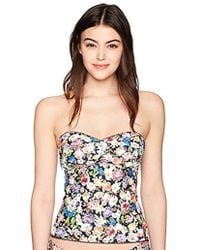 Lucky Brand - Junior's Late Bloomer Lace Up Back Bandini Tankini Top - Lyst