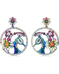 Betsey Johnson - Critters Colorful Peacock Drop Earrings, Multi, One Size - Lyst