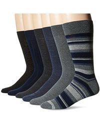 Perry Ellis - Portfolio Stripe Varigated 6 Pack Casual Dress Socks - Lyst