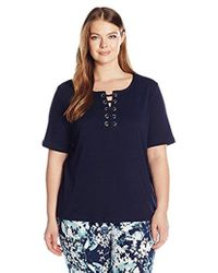 Rafaella - Petite Size Solid Lace Up Cotton Tee - Lyst