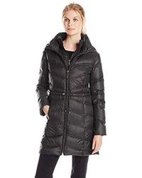 77e4cafe1c08 Ellen Tracy - Outerwear Chevron Packable Down Coat With Cinch Waist - Lyst