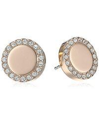 "Fossil - ""heritage Links"" Rose Gold Glitz Metal Stud Earrings - Lyst"