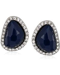 T Tahari - Mystic Sands Framed Stone Stud Earrings, Silver, One Size - Lyst