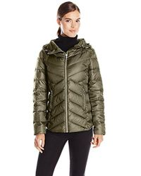Sam Edelman - Clara Lightweight Packable Down Jacket, Olive, Large - Lyst