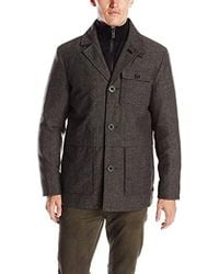 Kenneth Cole - Herringbone Button Front Wool Jacket With Canvas Bib - Lyst